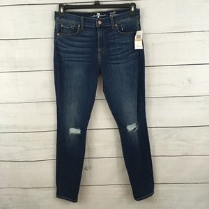 7 For All Mankind Dark Distressed Ankle Genevere